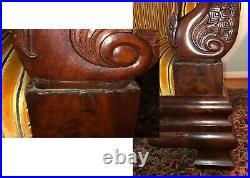 Antique Empire Style Pre-Civil War Velvet Sofa with Swan Detail, Antique Chair