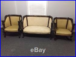 Antique Empire Style Settee Barrel Chair and Rocker 3pc Set 1920's Wooden Caster