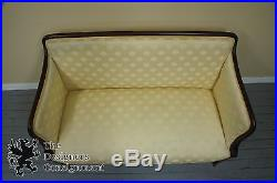 Antique Empire Style Settee Mahogany Loveseat Upholstered Scalloped Upholstery