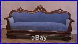Antique Empire Transitional Victorian Mahogany Sofa