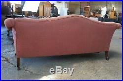 Antique English Chippendale Carved Mahogany Camelback Sofa Ball & Claw Feet