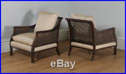 Antique English Edwardian Chippendale Style 3 Three Piece Mahogany Bergere Suite