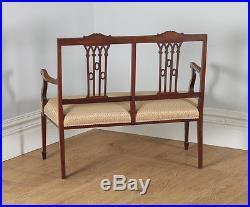 Antique English Edwardian Inlaid Mahogany Ladies Salon Sofa / Couch / Settee