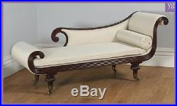 Antique English Regency Mahogany Scroll End Chaise Longue Sofa Couch (c. 1820)