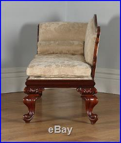 Antique English William IV Mahogany Upholstered Chaise Longue Sofa Couch c. 1835