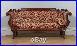 Antique English William IV Mahogany Upholstered Double Scroll End Sofa Couch
