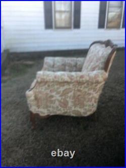 Antique Floral Camel Back Sofa & Chaise