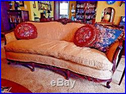 Antique French Art Nouveau Sofa Upholstered In Soft Mustard Yellow Crypton