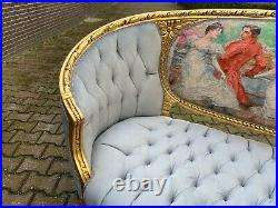 Antique French Cartouche Louis XVI Style Settee. 1900
