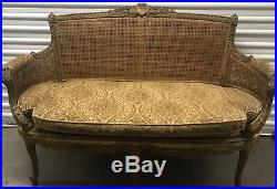 Antique French Gilt Cane Settee/ Cotton Velvet Cushion