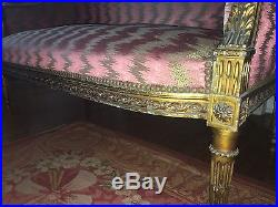 Antique French Hand Carved Square Back Settee Sofa With flame Stitch Upholstery