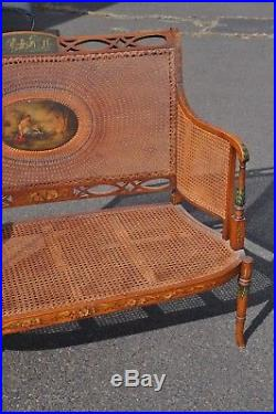 Antique French Hand Painted Cained Settee