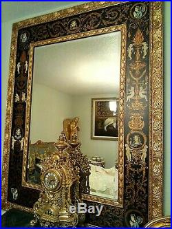 Antique French Louis Rococo Ornate Gold 5PC Sofa Settee Chair Mirror Table Set