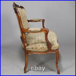 Antique French Louis XVI Carved Walnut Parlor Set, Settee and Armchairs