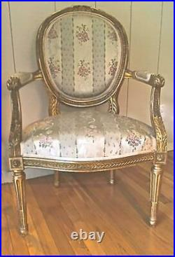 Antique French Louis XVI Style Giltwood Pair Fauteuils/ Arm Chairs