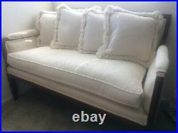 Antique French Louis XVI White Upholstered Settee Sofa SIGNED