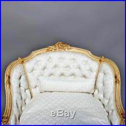 Antique French Louis XV Style Carved & Gilt Button Back Recamier, circa 1830