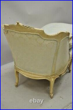 Antique French Louis XV Style Cream Distress Painted Recamier Chaise Lounge Sofa