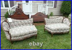 Antique French Louis XV Style Settee/ Love Seat Set, Late 19 Century