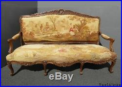 Antique French Louis XV Walnut Gold Tapestry Settee Canape Country Setting