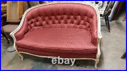 Antique French Provincial Settee Couch Wonderful New RED Fabric Excellent Co