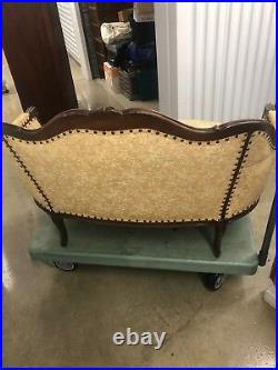 Antique French Provincial Settee Love Seat Ornate Carved Wood Small Couch