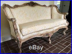 Antique French Style Floral Upholstered Sofa