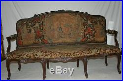 Antique French Walnut Louis XV Provincial Style Needlepoint Sofa Settee
