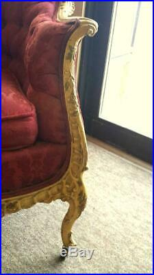 Antique French style Settee Loveseat 1930s era wood carved frame Tufted 4' wide