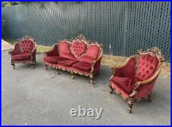 Antique Italian Victorian French Sofa & Chairs Ornate Carved Wine Baroque Red