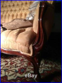 Antique J&JW Meeks Sofa Settee Stanton Hall Carved Rosewood Excellent Upholstery