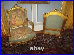 Antique Louis XVI 3 Pc French Salon Parlor Set Sofa & 2 Chairs Scenic Tapestry