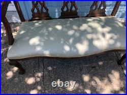 Antique Loveseat, Sofa Chippendale style Mahogany Settee with Grey/Blu Fabric