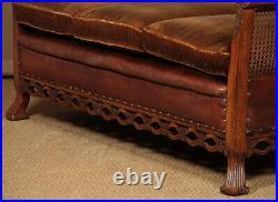 Antique Low Back Oak & Leather Couch c. 1925