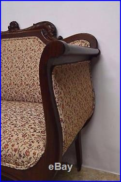 Antique Mahogany 3pc Parlor Set Settee, Arm Chair, Chair