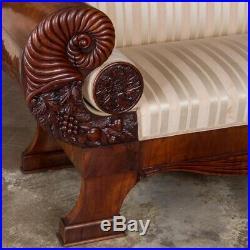 Antique Mahogany Biedermeier Sofa with Dramatic Carved Cornucopia Arms