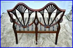 Antique Mahogany Regency Style Shield Back Settee withPin Inlaid Feet