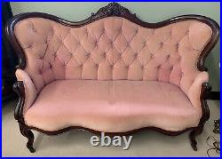 Antique Mid 1800s Pink Blush Velvet Tufted Settee With Mahogany Wood