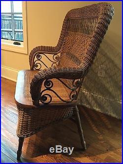 Antique Natural Wicker Bench Settee Loveseat by Larkin Company