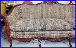 Antique Naturalistic Rococo Revival Style Rosewood Sofa with Four Pillows