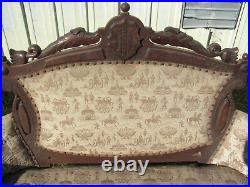 Antique Ornate Victorian Walnut Love Seat And Matching Arm Chair