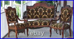 Antique Parlor Set Settee Loveseat, platform rocker, + 3 arm chairs
