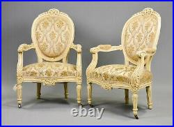 Antique Parlor Set, Sofa, Armchairs, (2) Settee French Painted Upholstered