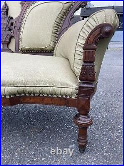 Antique Parlor Sofa Victorian Carved Empire Settee Couch Renaissance Ornate