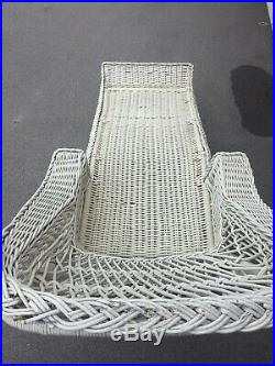 Antique Rare Wicker Chaise Lounge All Reed