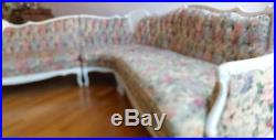 Antique Re Upholstered French Provincial 3 Piece Sectional Sofa Set