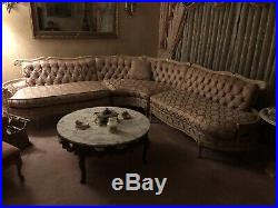 Antique Re-upholstered French Provincial 3-Piece Sectional Sofa Set 1950s