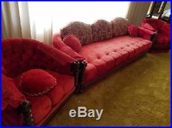 Antique Red Sofa and 2-Chairs