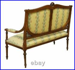Antique Salon Set, Sofa With 2 Chairs Louis XVI Style Upholstered Salon Settee