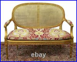 Antique Settee, Caned French Louis XVI Style Giltwood, 1800s, Charming